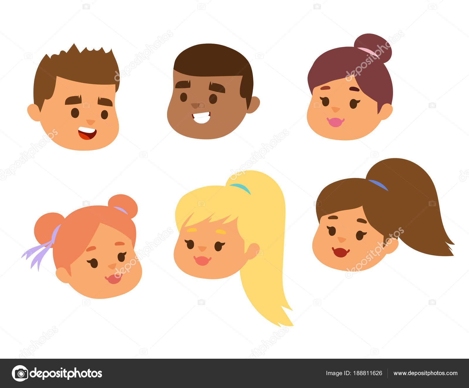 Rostros De Niños Animados: Niños Vectores A Cara Retrato Niños Carácter Niñas O