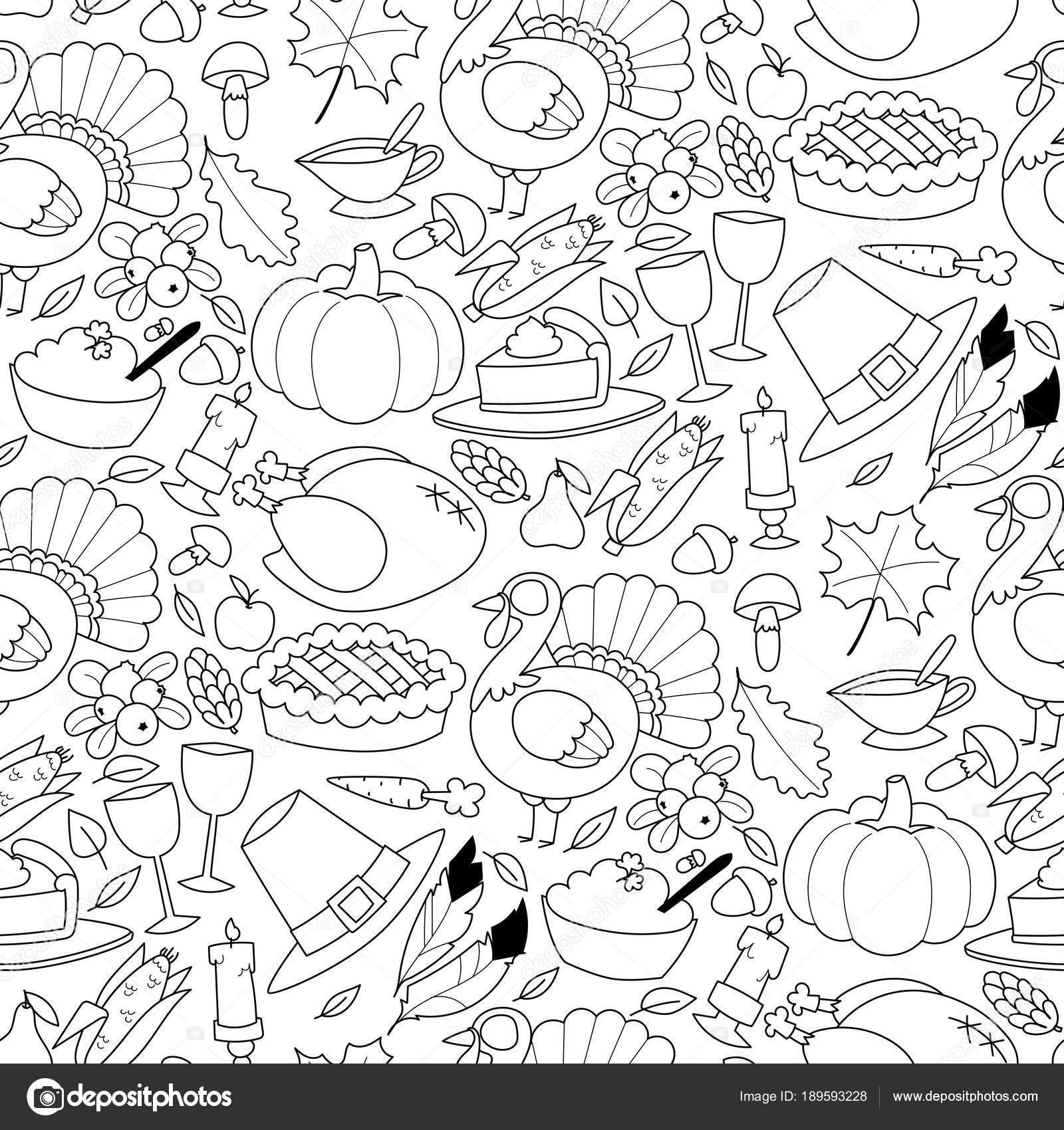 Feliz día de acción de gracias diseño vacaciones de patrones sin ...