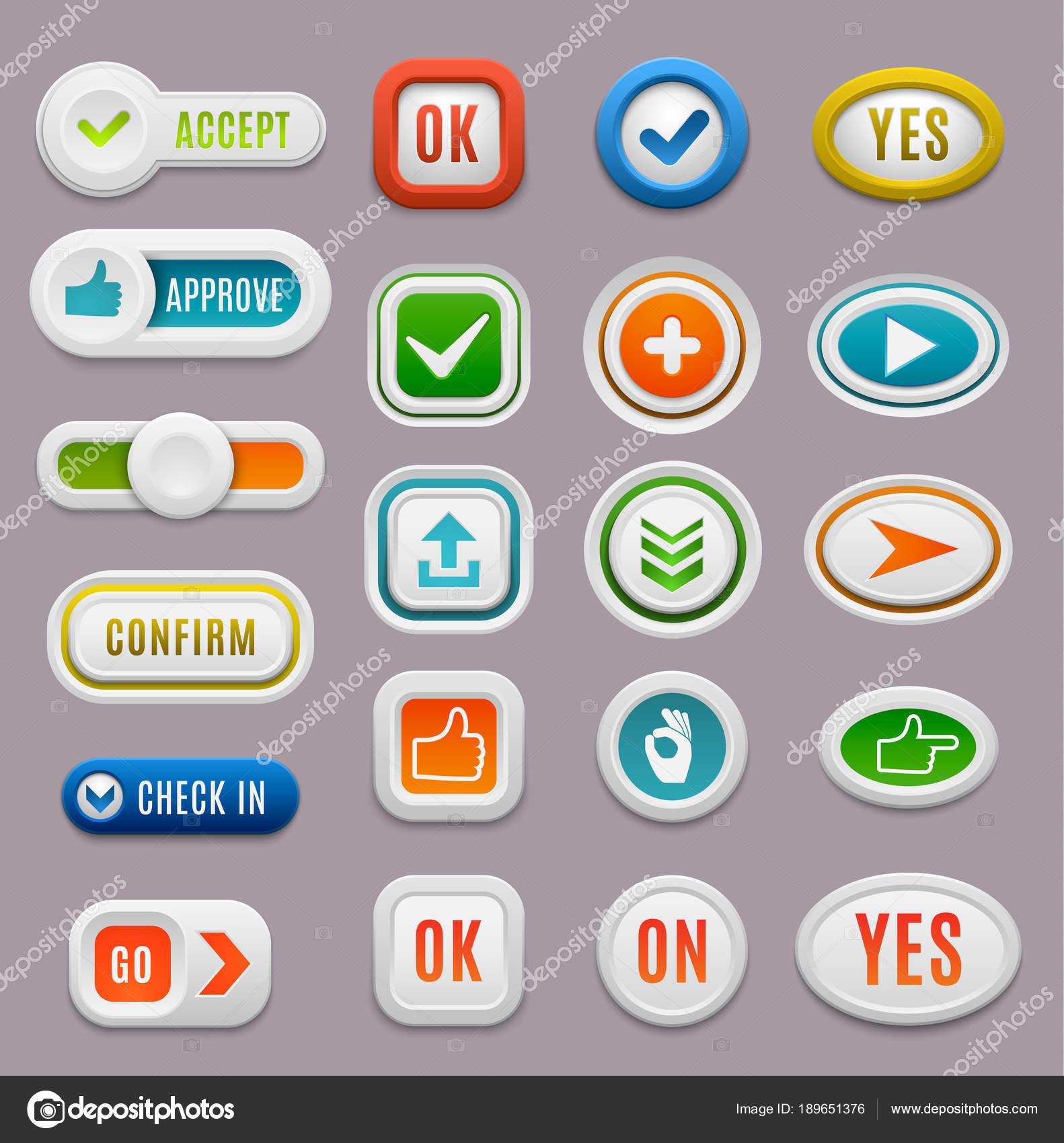 Утвердить интерфейс кнопки ОК, отмена да вектор голосовать Интернет  проверить кнопку ОК позитивный набор. Веб-сайт принимает кнопку ОК успех  красный знак ... 0705fa82a0c