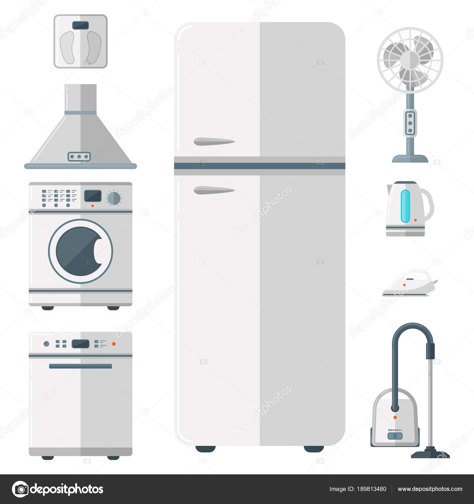 Home appliances vector domestic household equipment kitchen ...