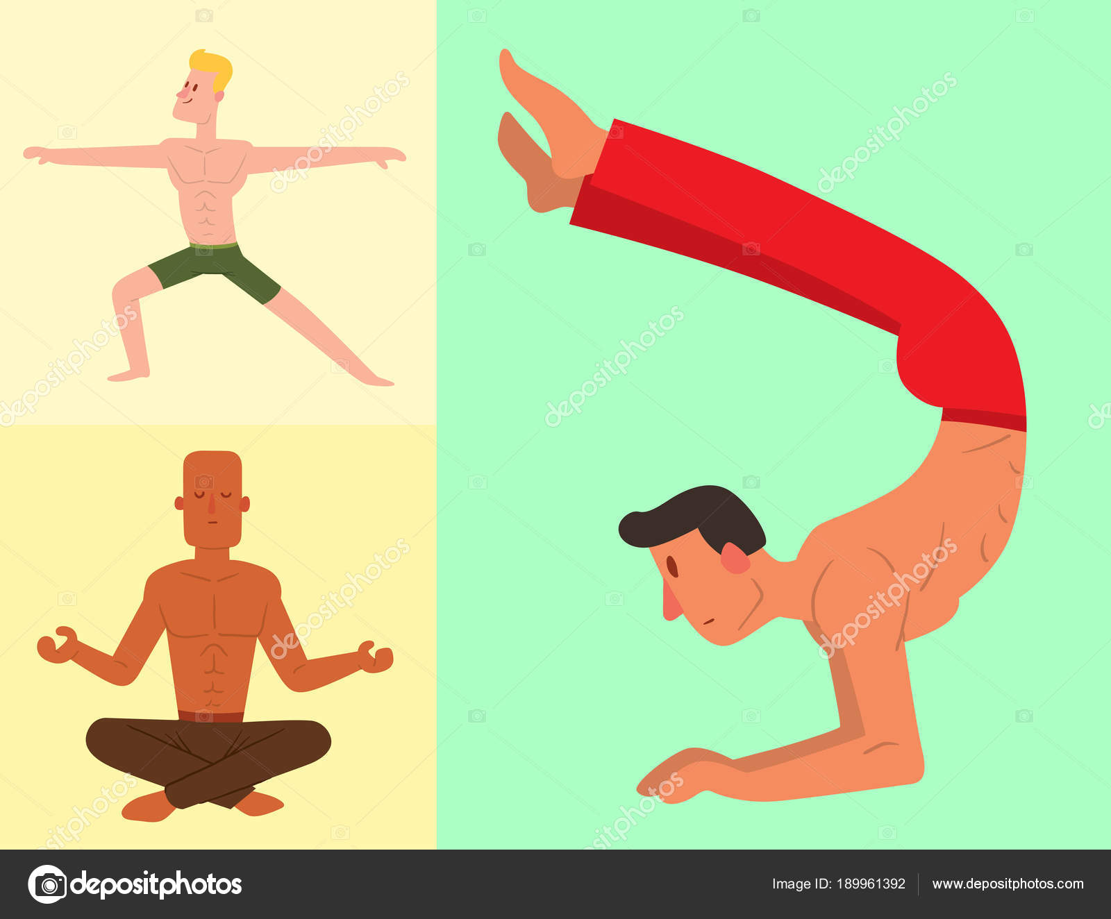 Yoga Positions Man Character Class Vector Card Illustration Meditation Male Concentration Human Peace Sport Lifestyle Relaxation Health Exercise