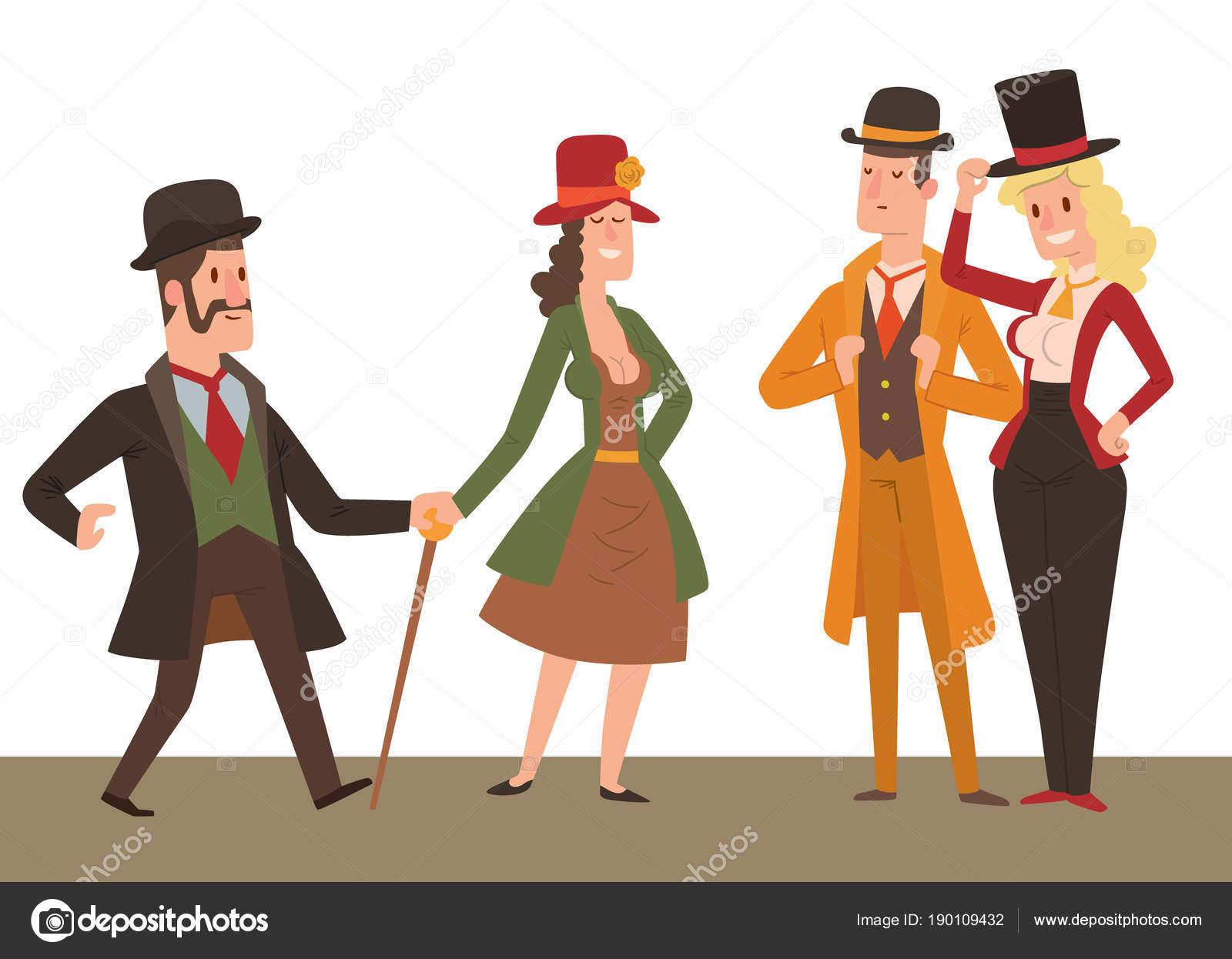 vector de dibujos Estilo Gente moda viejo época animados victoriana del victoriano caballeros retro pueblo 8q6w6I5x1