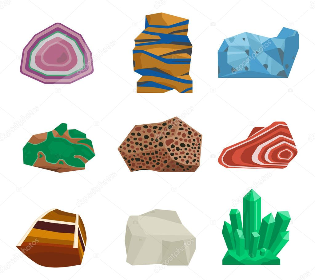 Semi precious gemstones vector stones and mineral stone isolated dice colorful shiny crystalline mineral jewelry illustration.