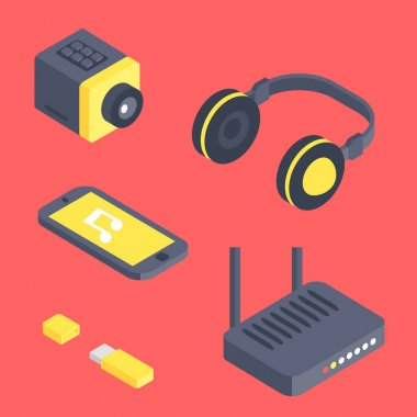 Isometric vector gadget computer devices icons wireless technologies mobile communication 3d illustration. Digital electronic technology isomerical tools technology