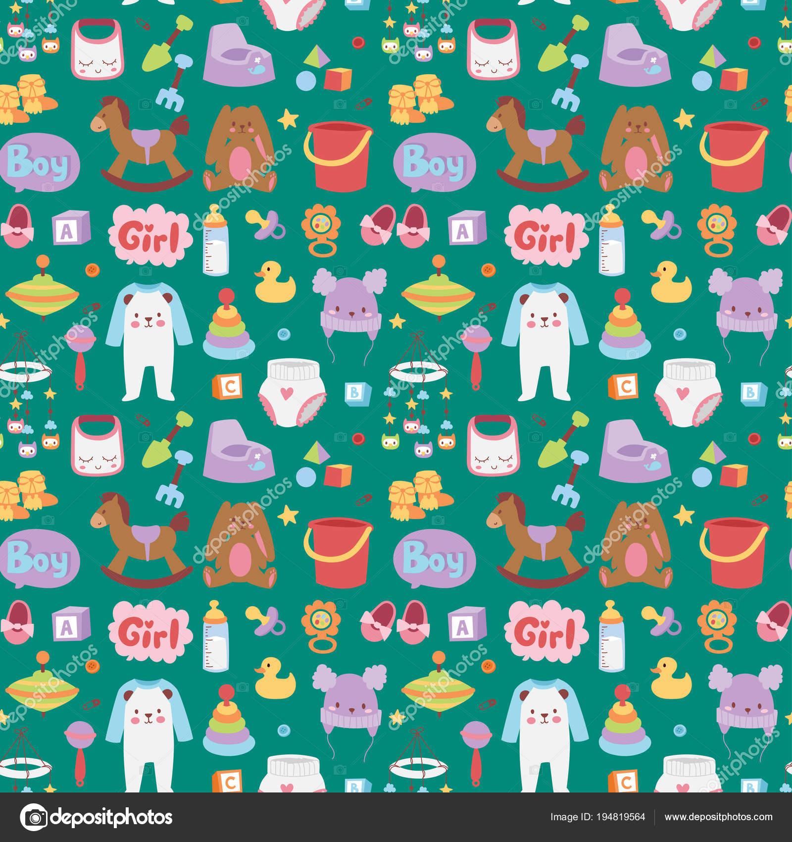 769153ea02d195 Bébé jouets icônes dessin animé enfant famille toyshop design mignon garçon  et fille l enfance art diaper dessin graphique amour hochet amusant motif  sans ...