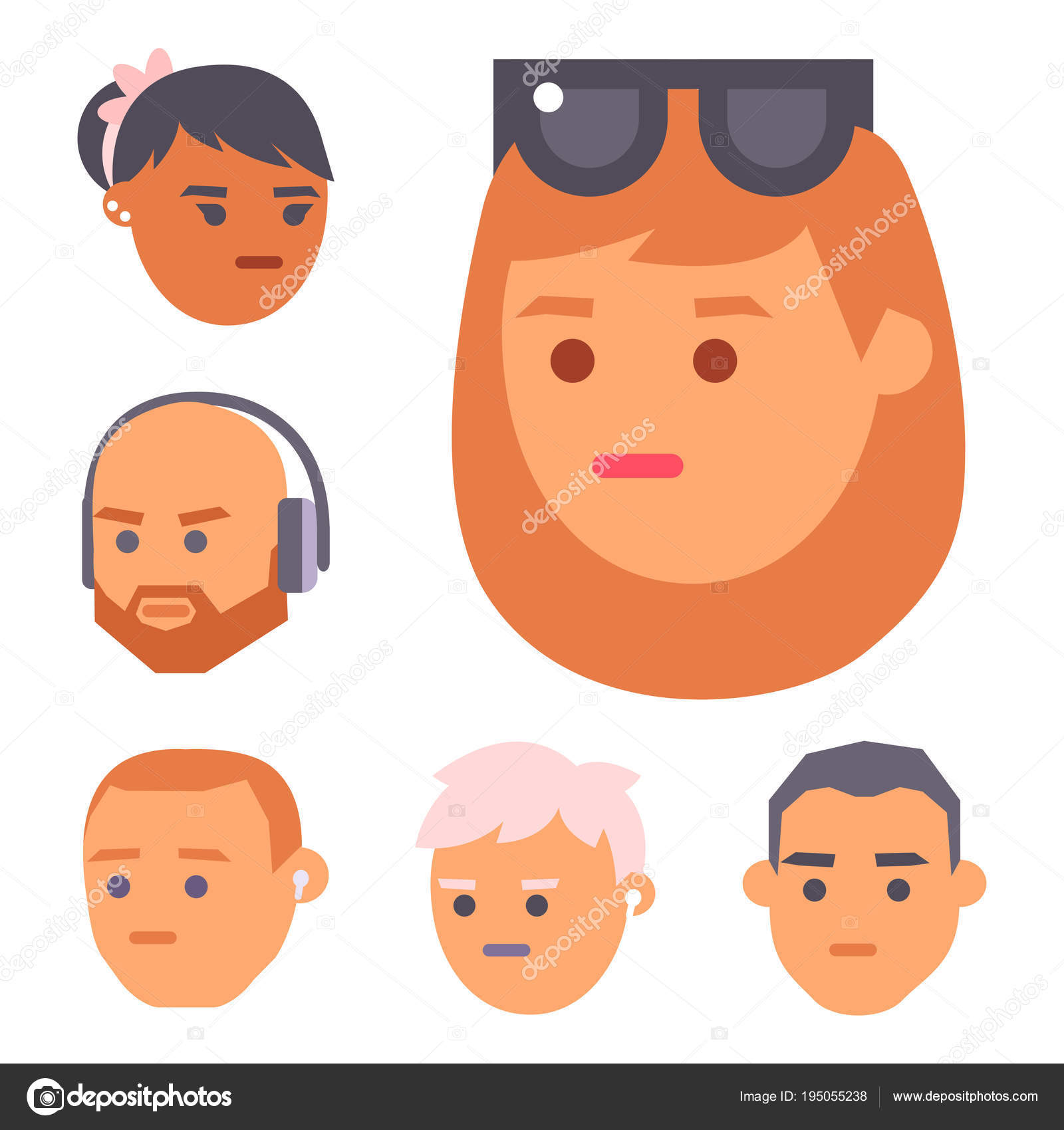 Eemotion Vector People Faces Cartoon Emotions Avatar Illustration