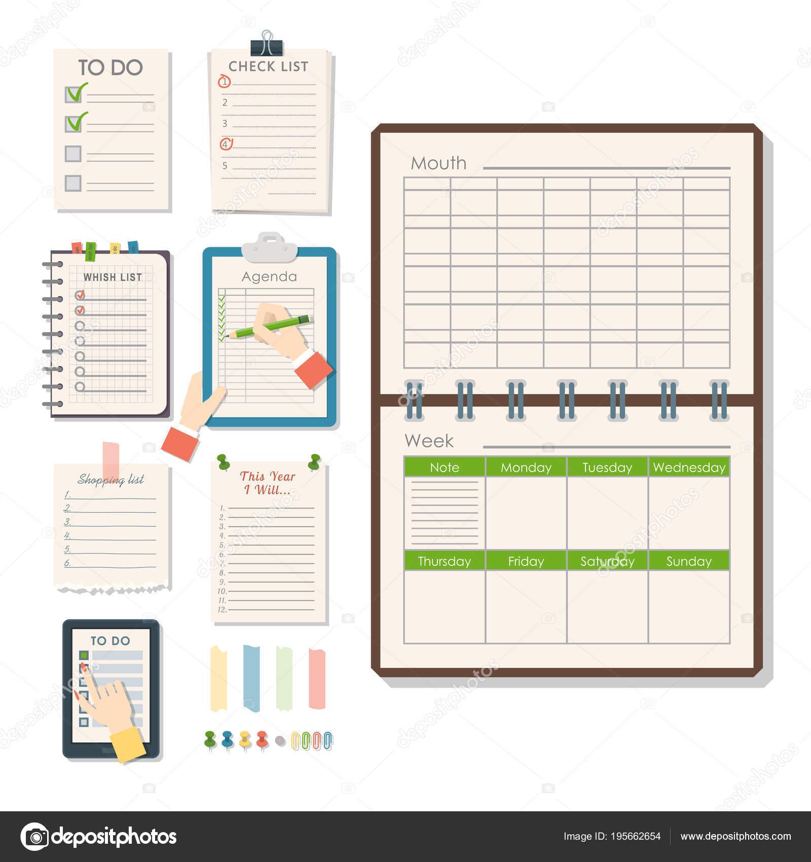 Calendario Per Appunti.Blocco Appunti Di Carta Vettoriale Agenda Elenco Business In