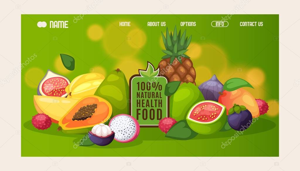 Natural Healthy Food Website Design Vector Illustration Landing Page Template Organic Products Exotic Tropical Fruits Fresh Mango Papaya Guava Pineapple And Mangosteen Healthy Food Background Premium Vector In Adobe Illustrator Ai