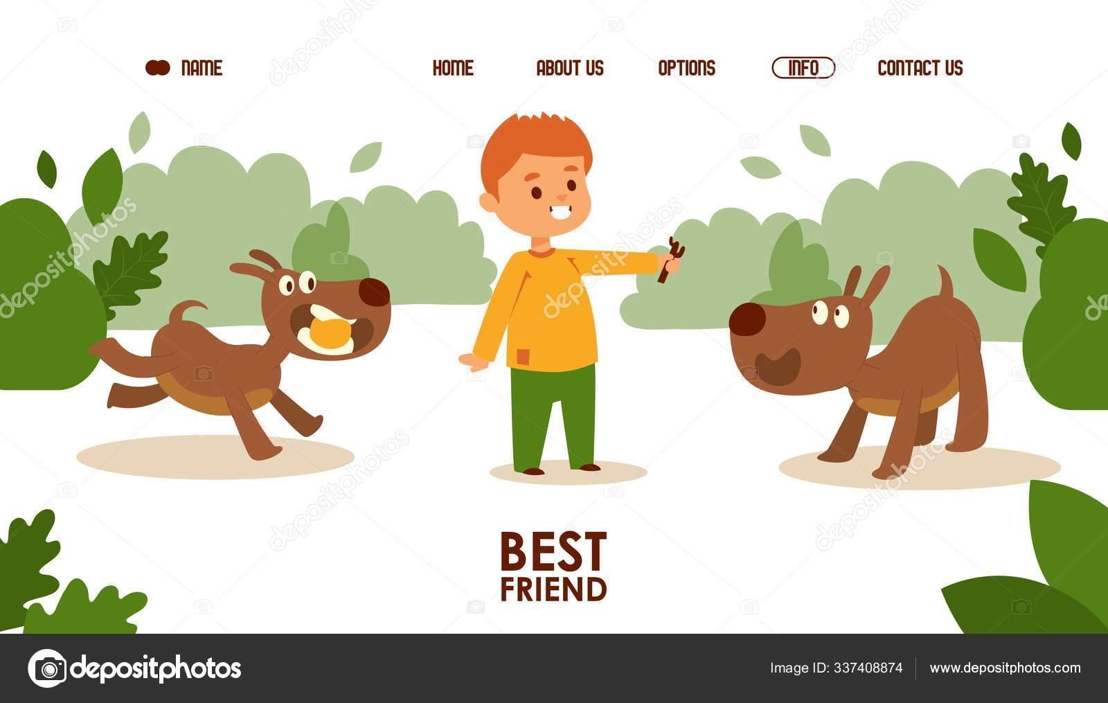 Boy Bermain Dengan Anjing Vektor Ilustrasi Templat Halaman Pendaratan Desain Website Karakter Kartun Lucu Aktivitas Menyenangkan Dengan Hewan Peliharaan Anjing Adalah Teman Baik Laki Laki Stok Vektor C Adekvat 337408874