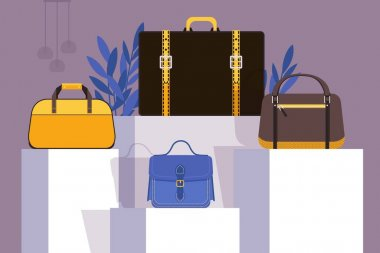 Collection of bags in fashion store showcase, vector illustration