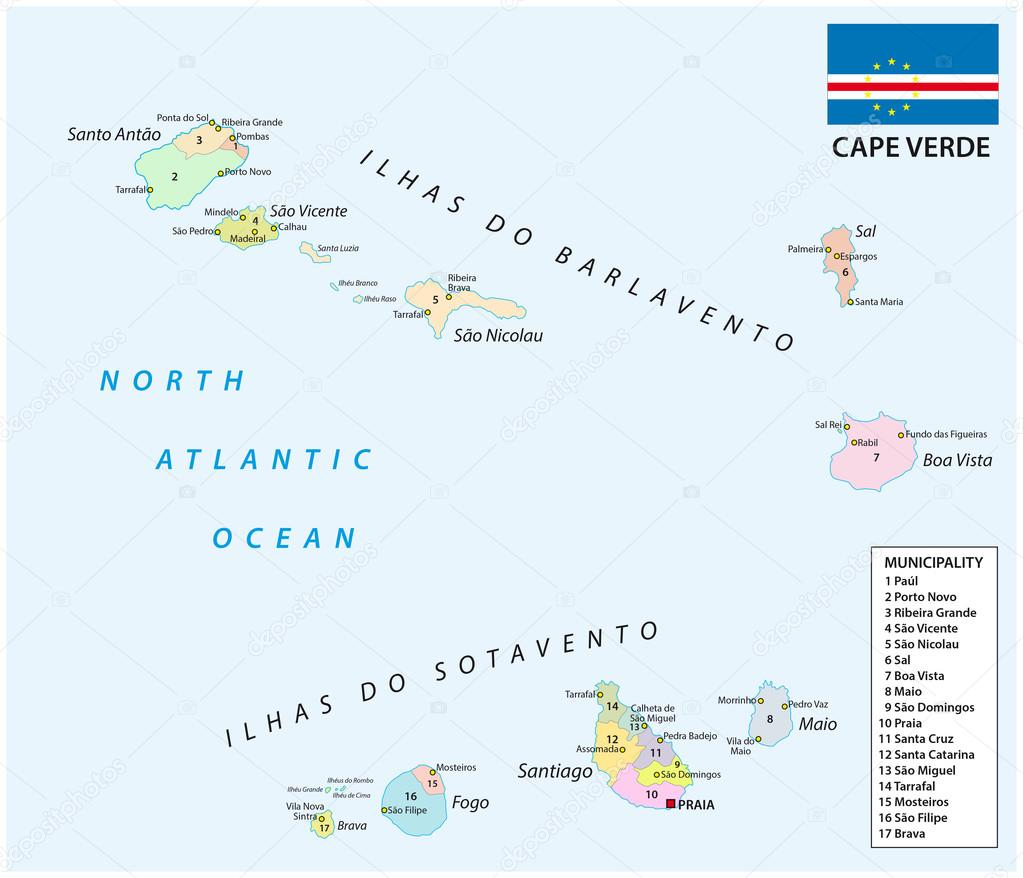 cape verde administrative map with flag Stock Vector Lesniewski