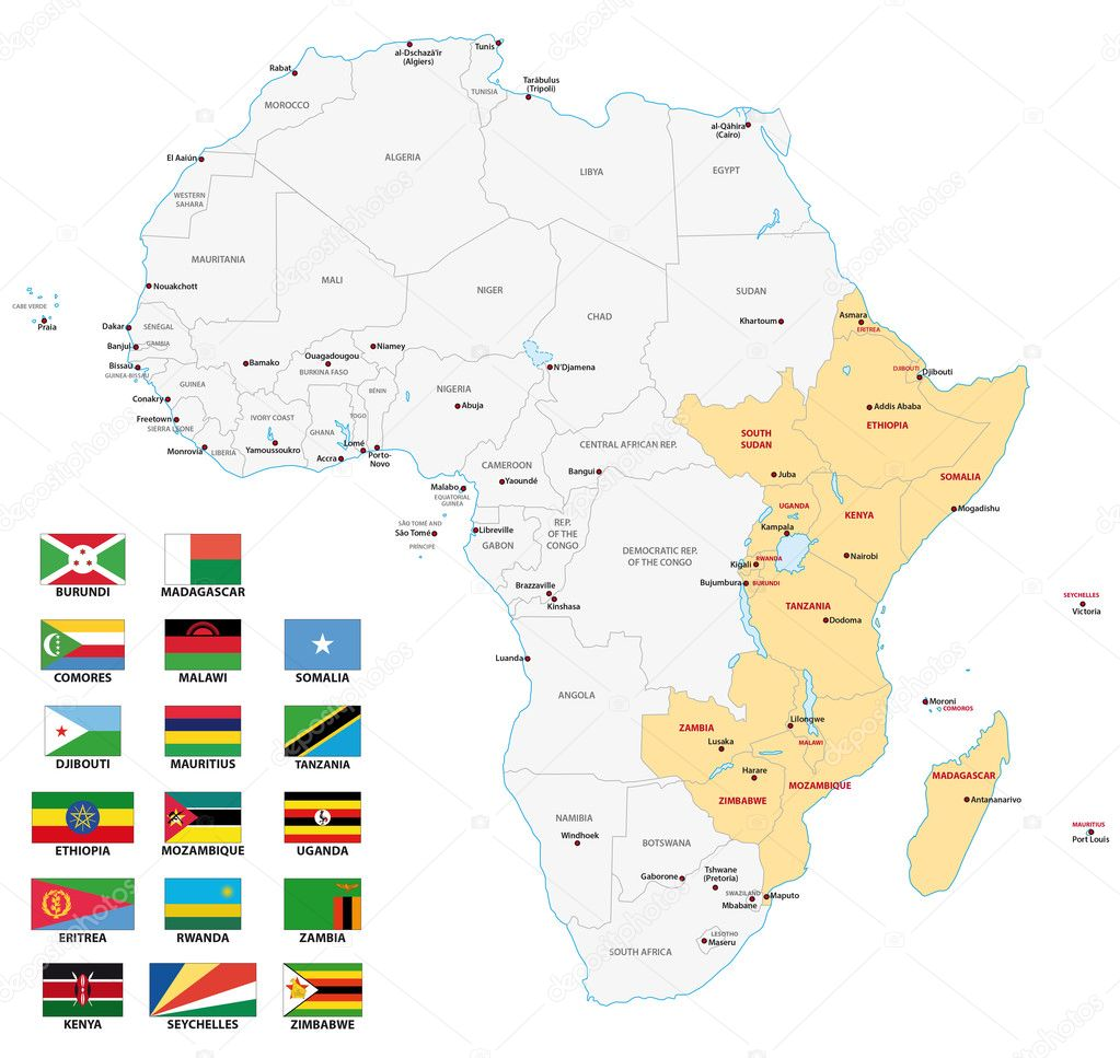 East Africa Map With Flags Stock Vector C Lesniewski 125033368