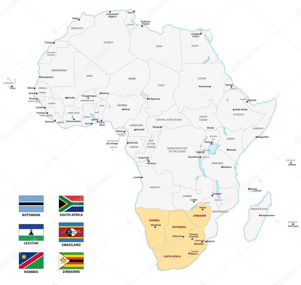carte d'Afrique du Sud avec des drapeaux — Image vectorielle Lesniewski © #125033398