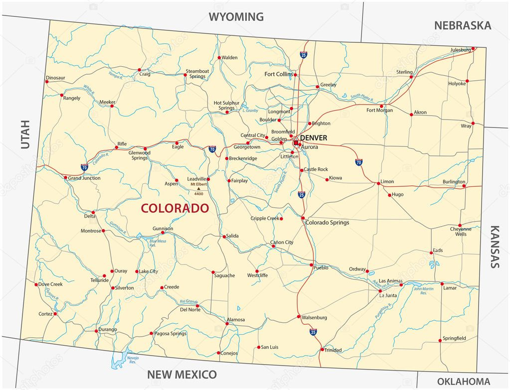 colorado road map, large detailed map of colorado with ...