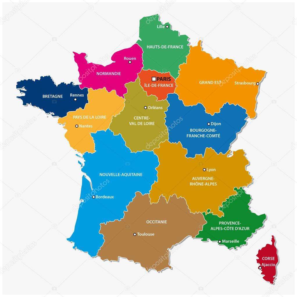 frança mapa regiões Mapa administrativo das 13 regiões da França desde 2016 — Vetores  frança mapa regiões