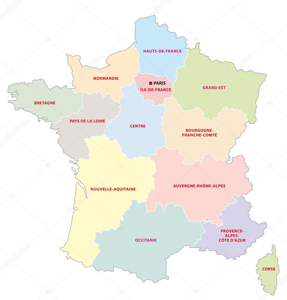 Administrative Map Of The 13 Regions Of France Since 2016 Stock