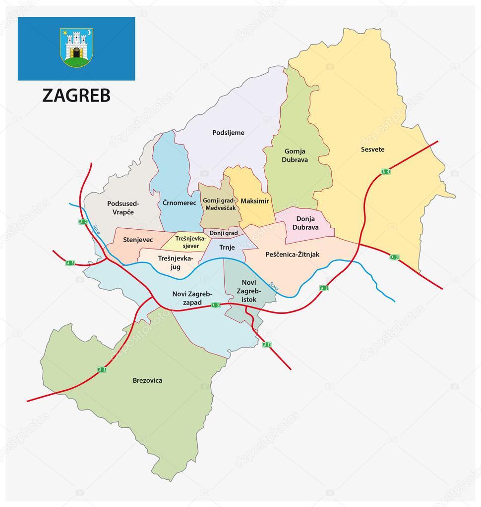 Carte Administrative Croatie.Carte De La Division Administrative De La Capitale De La