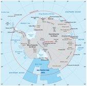 Mapa Antarktidy s novou oblast ochrany moře v Rossově moři