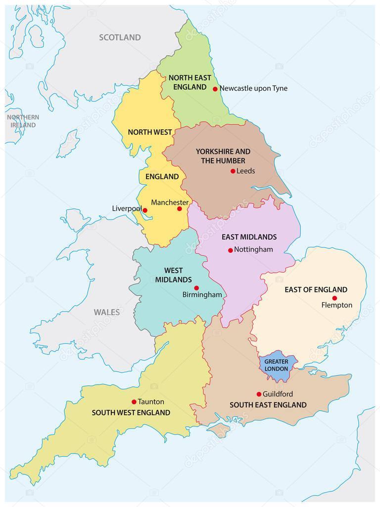 mapa da inglaterra mapa de contorno das nove regiões da Inglaterra — Vetores de Stock  mapa da inglaterra