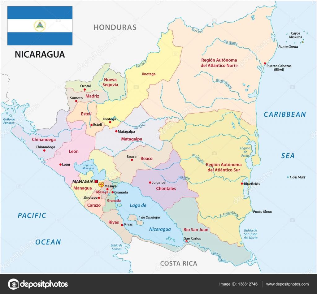 nicaragua administrative map with flag Stock Vector Lesniewski