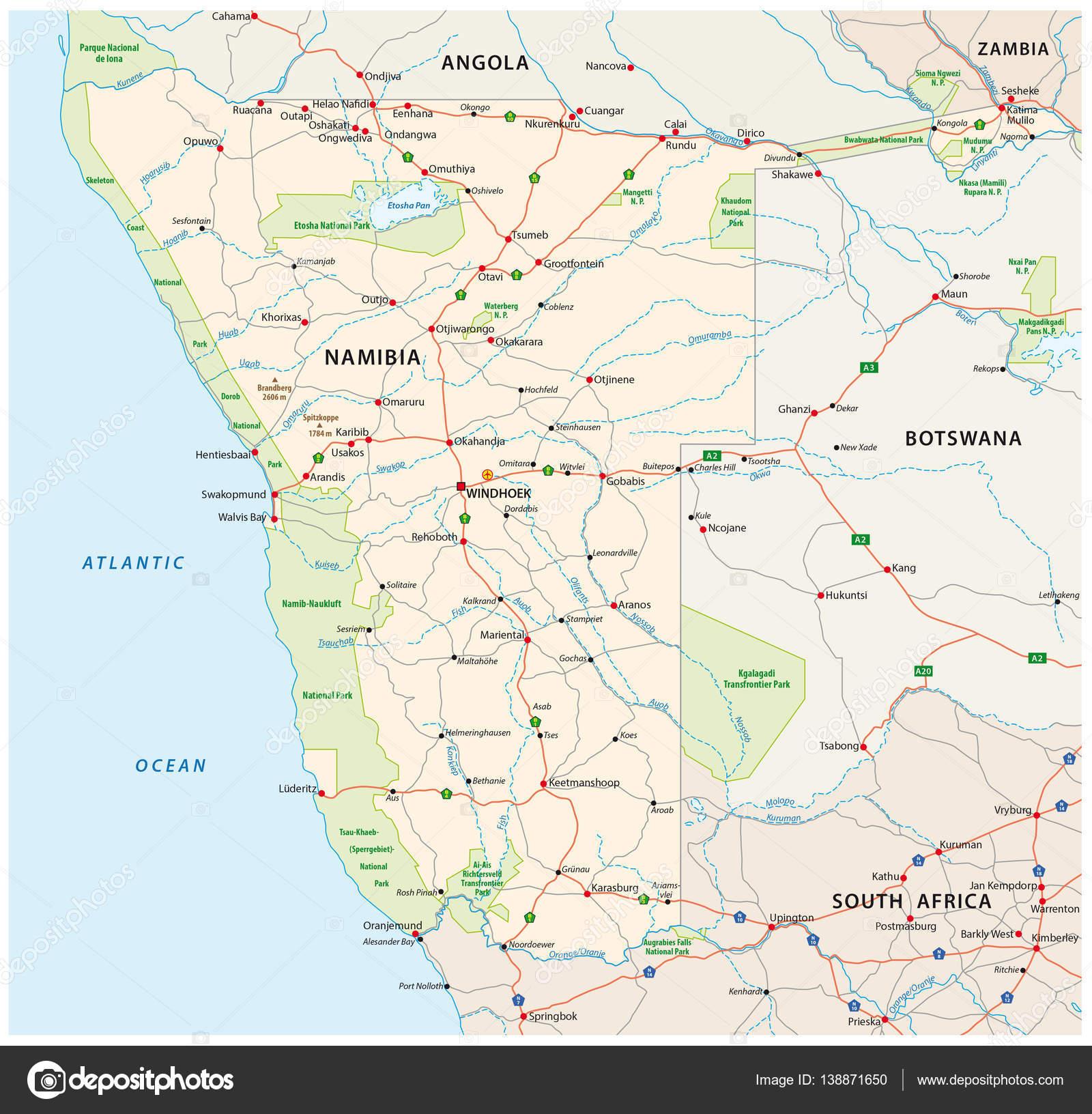 karta vägar Vektor vägar och nationalparken karta över sydvästra Afrika  karta vägar