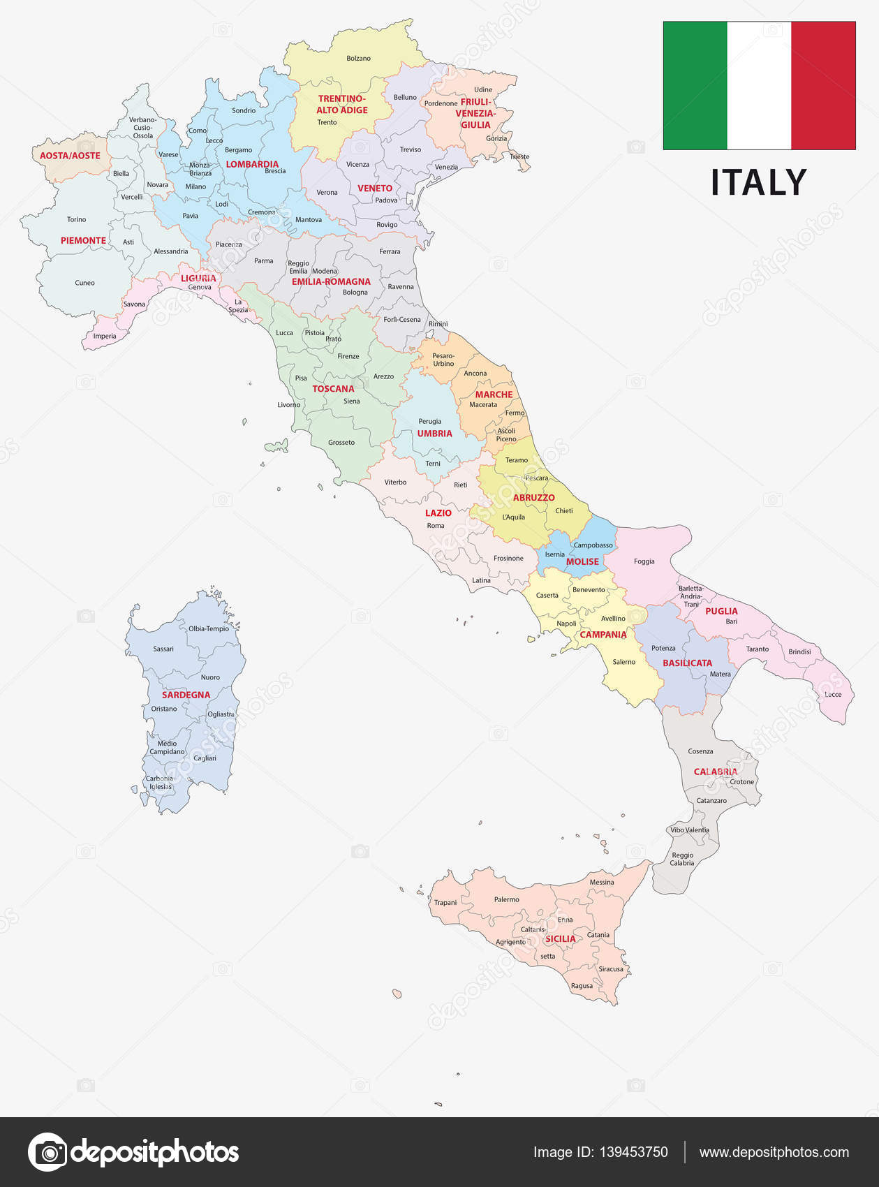 italy administrative and political map Stock Vector Lesniewski
