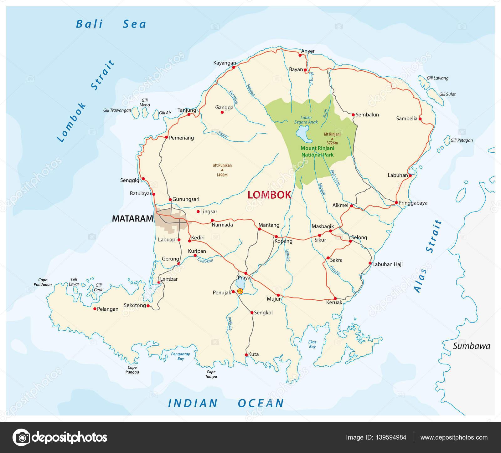 Mapa de carreteras de la isla indonesia de lombok vector de stock mapa de carreteras de la isla indonesia de lombok vector de stock gumiabroncs Image collections