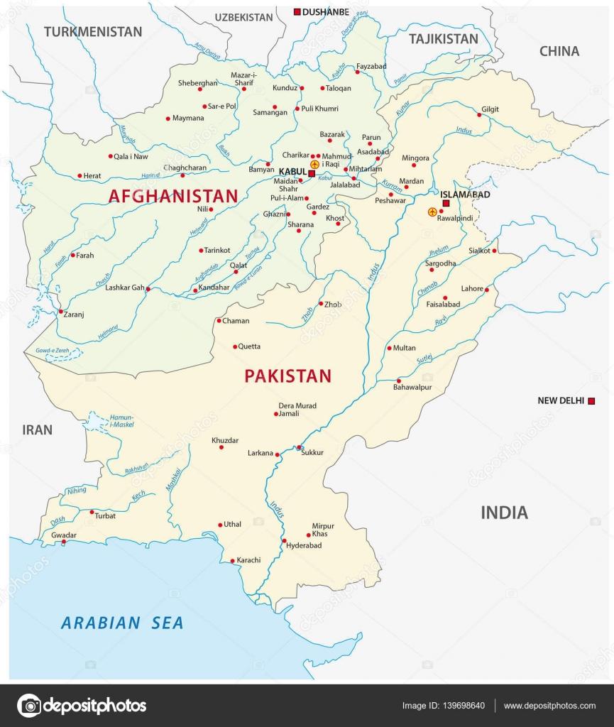 Pakistan Afghanistan Map Stock Vector Lesniewski - Charikar map