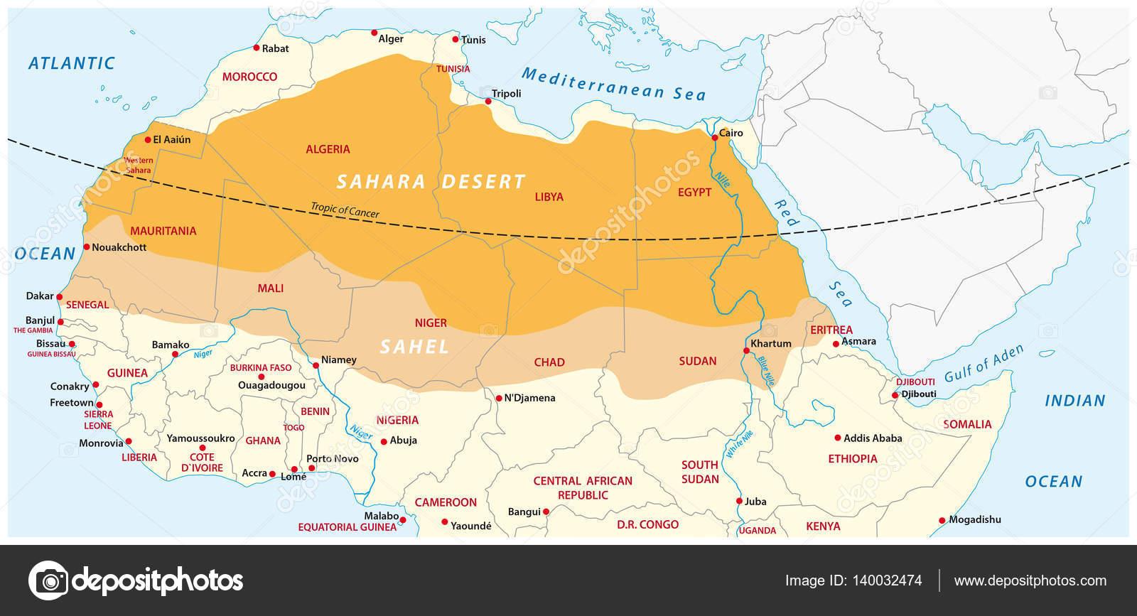 map of the sahara desert and sahel zone � stock vector