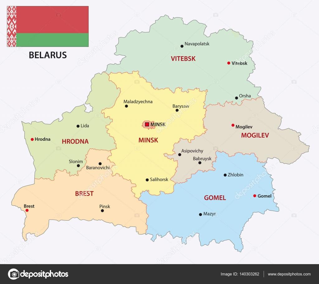 ベラルーシの行政や政治の地図表...