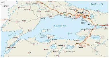 Road map marmara sea with istanbul