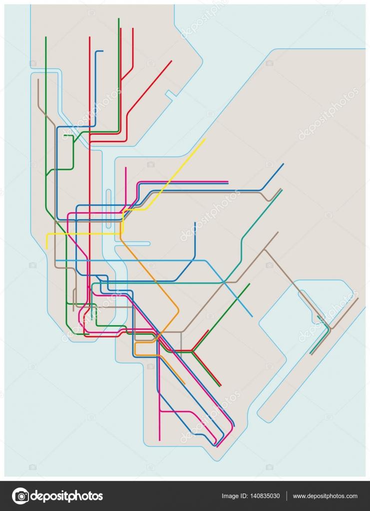 Nyc Subway Map Pics Stock.Colored Subway Map Of New York City Stock Vector C Lesniewski