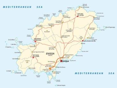 Road map of the Spanish Mediterranean Sea Eivissa