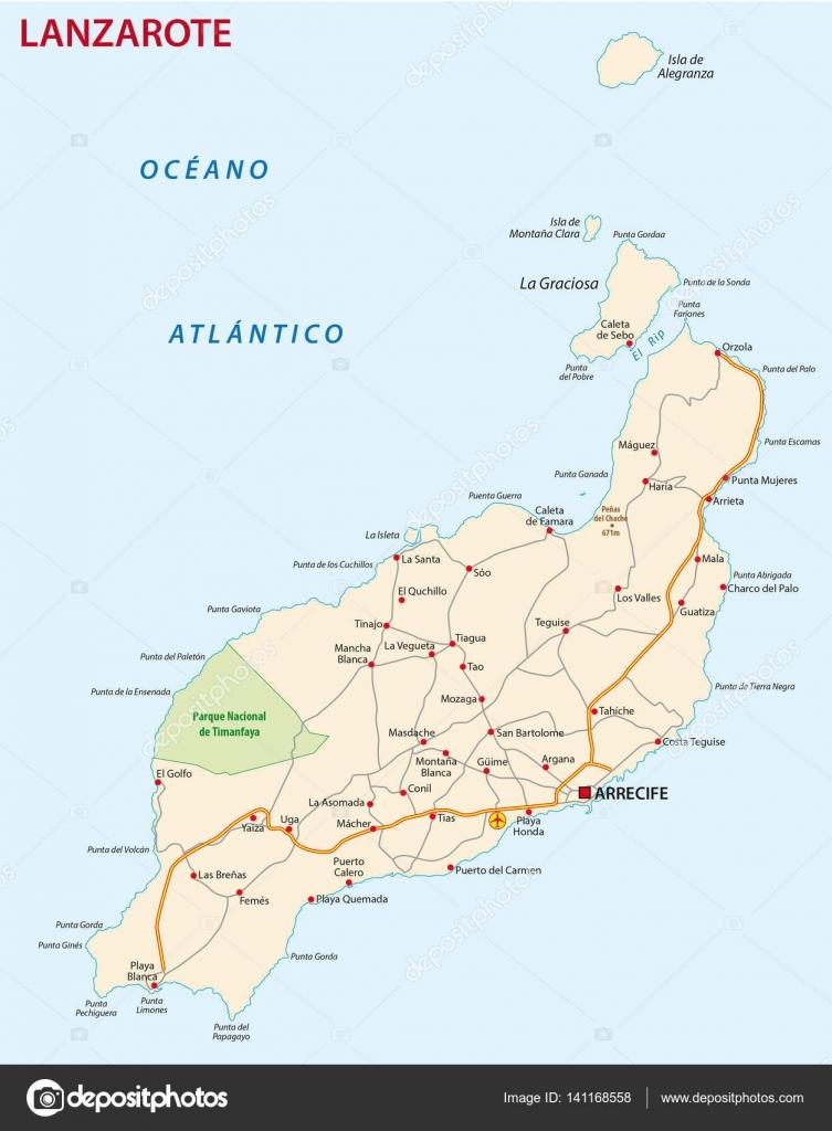 Isla De Lanzarote Mapa.Mapa De Carreteras De Canarias Isla De Lanzarote Archivo
