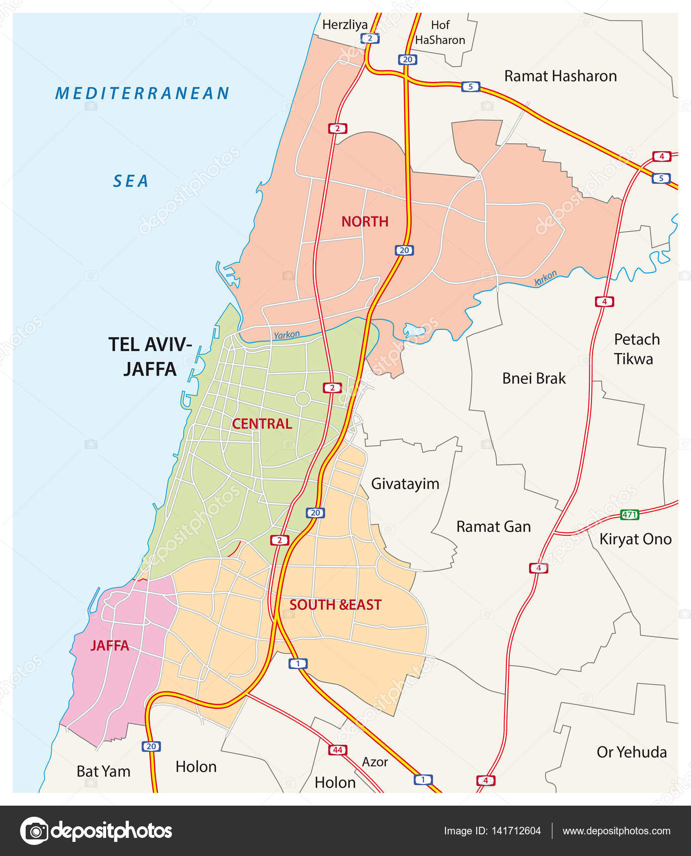 Administrative roads and political map of the israeli city of tel administrative roads and political map of the israeli city of tel aviv jaffa gumiabroncs Choice Image
