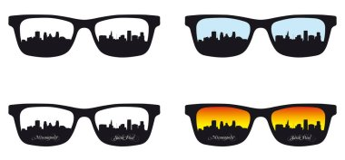 Save Download Preview skyline of urban Mineapolis and saint paul reflected in a spectacle
