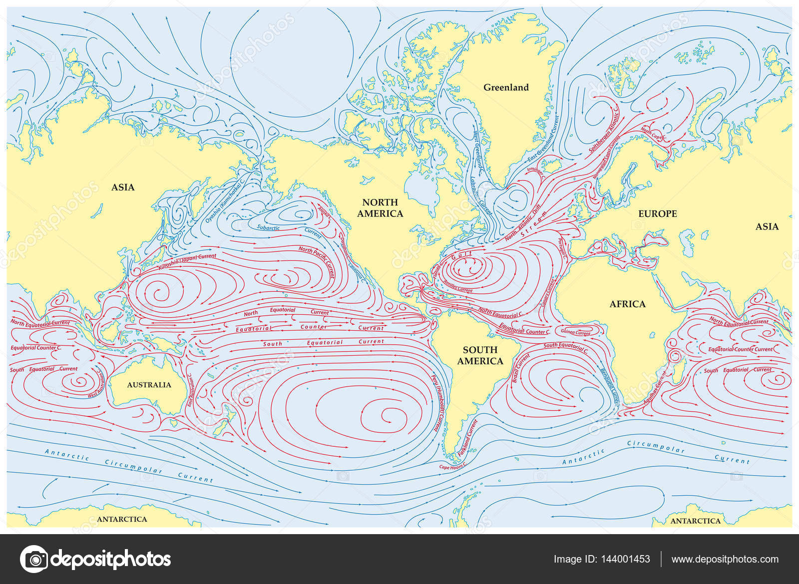 World Map With Currents.World Map Of All Sea Currents Stock Photo C Lesniewski 144001453