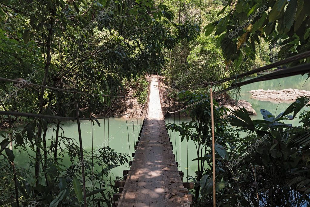 Hanging bridge over the Rio Agujitas near Drake, Costa Rica