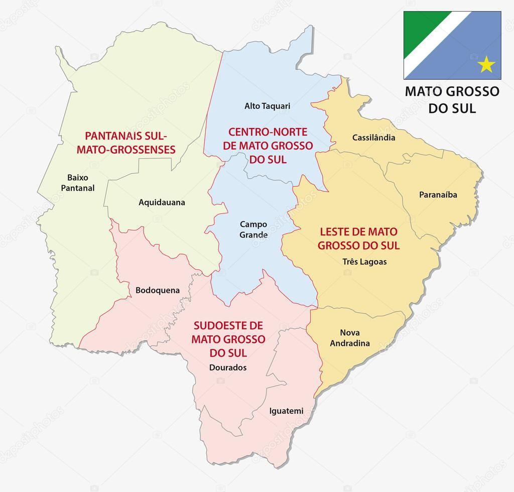 Mato grosso do sul administrative and political map with flag