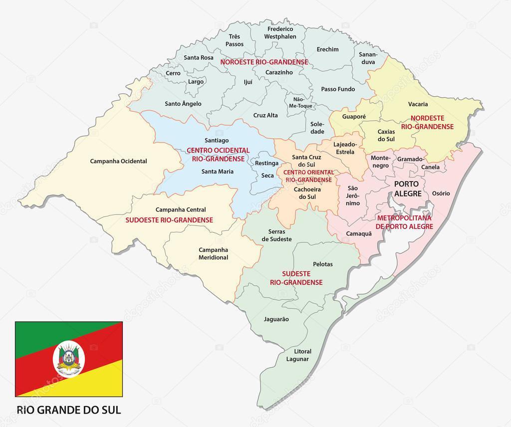 Rio Grande do Sul colorful administrative and politicaln map with flag