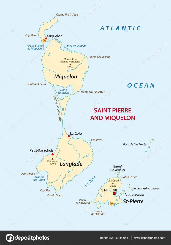 Vector map of the french island saint pierre and miquelon Stock