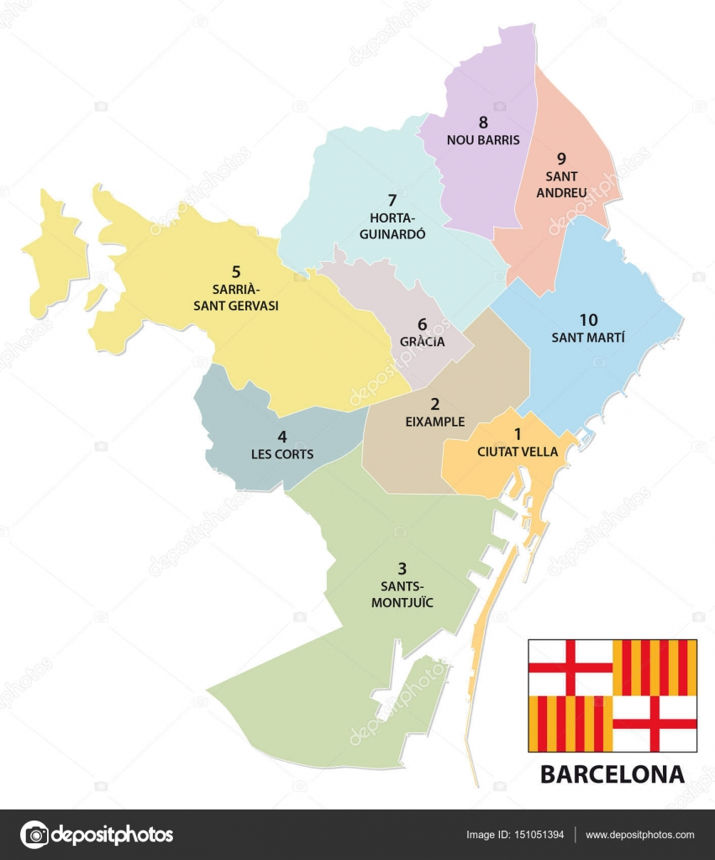Carte Eixample Barcelone.Carte Administrative Et Politique De La Capitale Catalane De