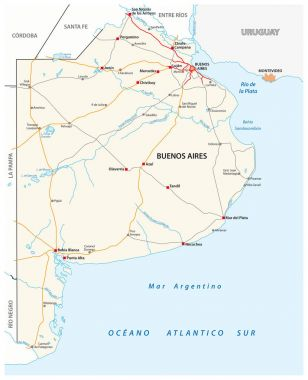 Road map of the Argentine province of Buenos Aires