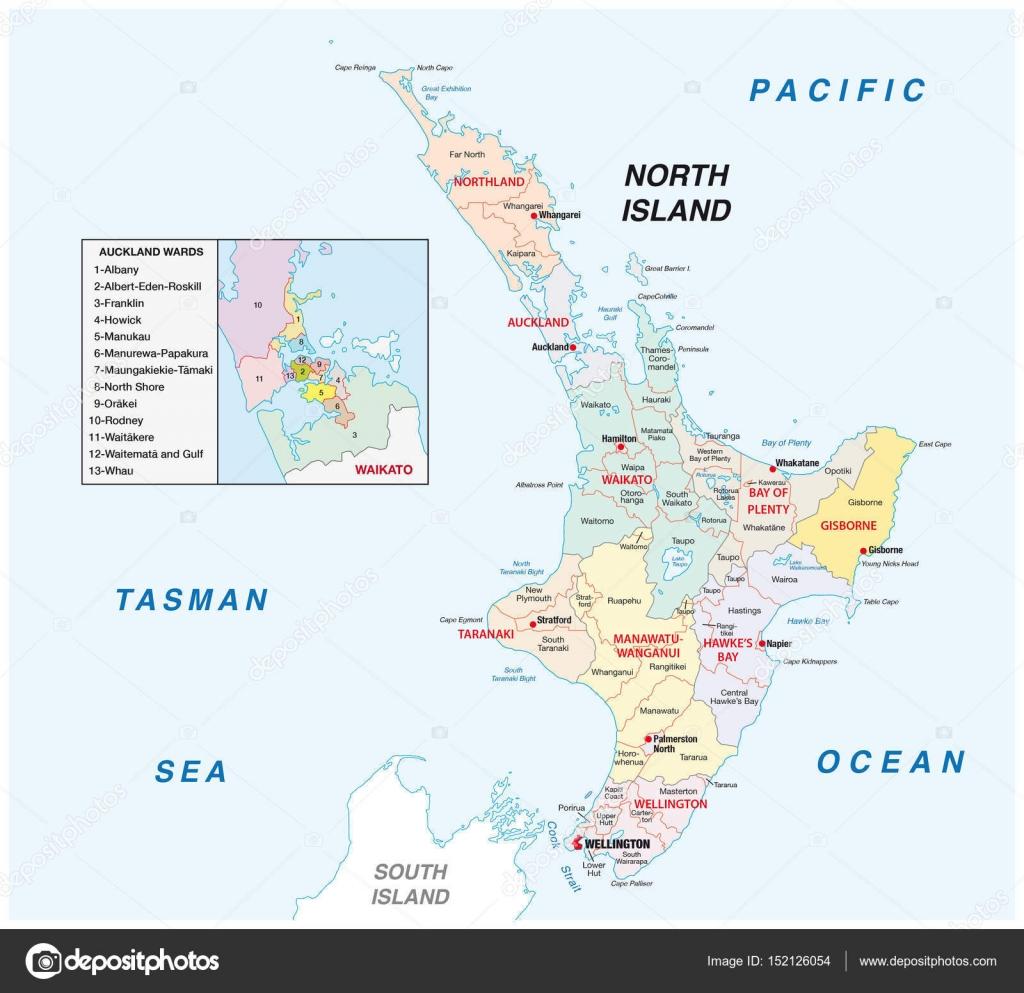 Neuseeland Nordinsel Karte.Neuseeland Nordinsel Administrative Und Politische Karte