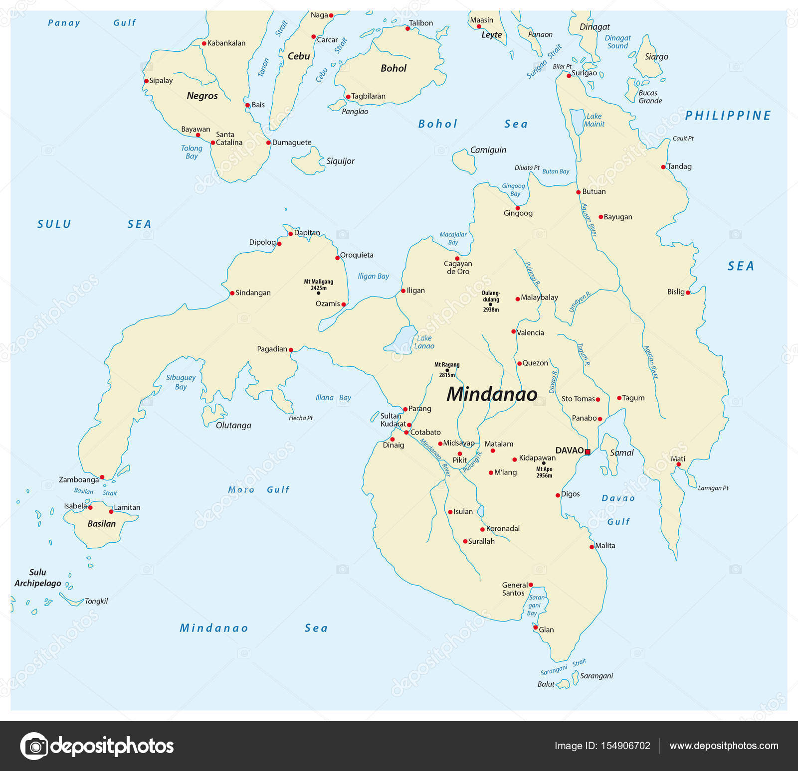 Map Of The Second Largest Philippine Island Mindanao Stock