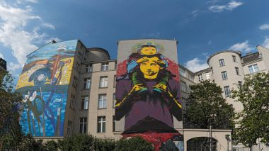 Street art on a house front in Vienna's 5th district, Mariahilf, austria