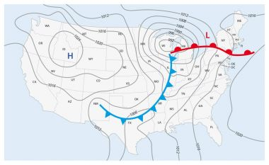 Imaginary weather map of the United States of America clip art vector