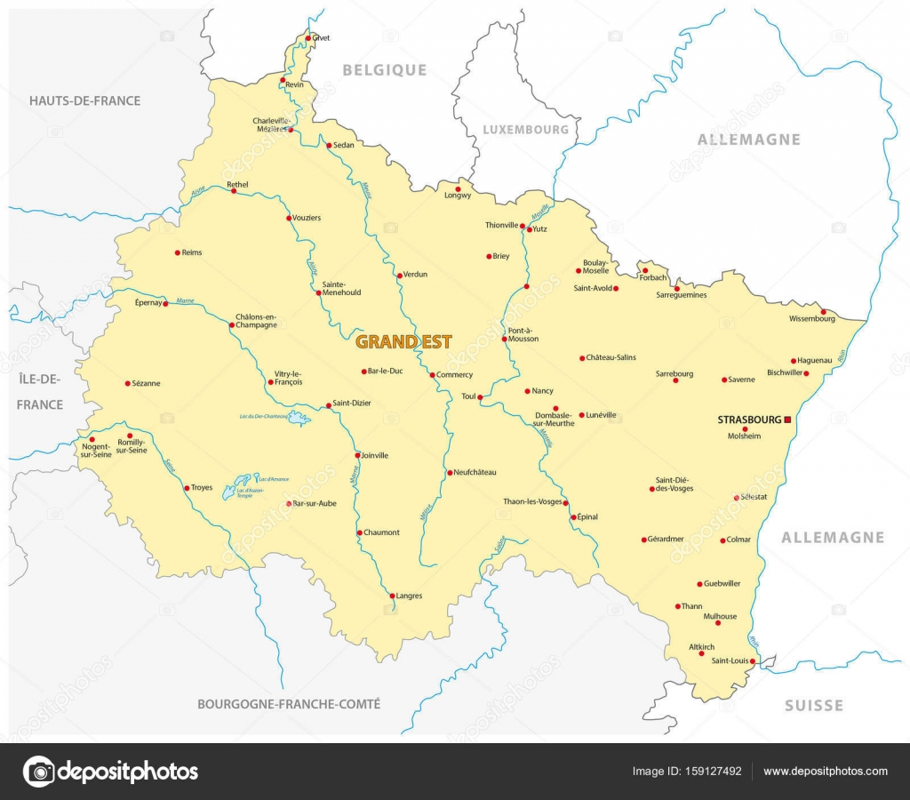 Map of the new French region Grand Est in French language — Stock ...