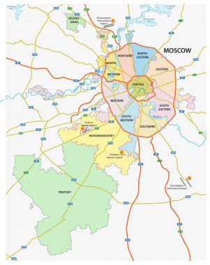 Administrative and political and road map of the Russian capital Moscow