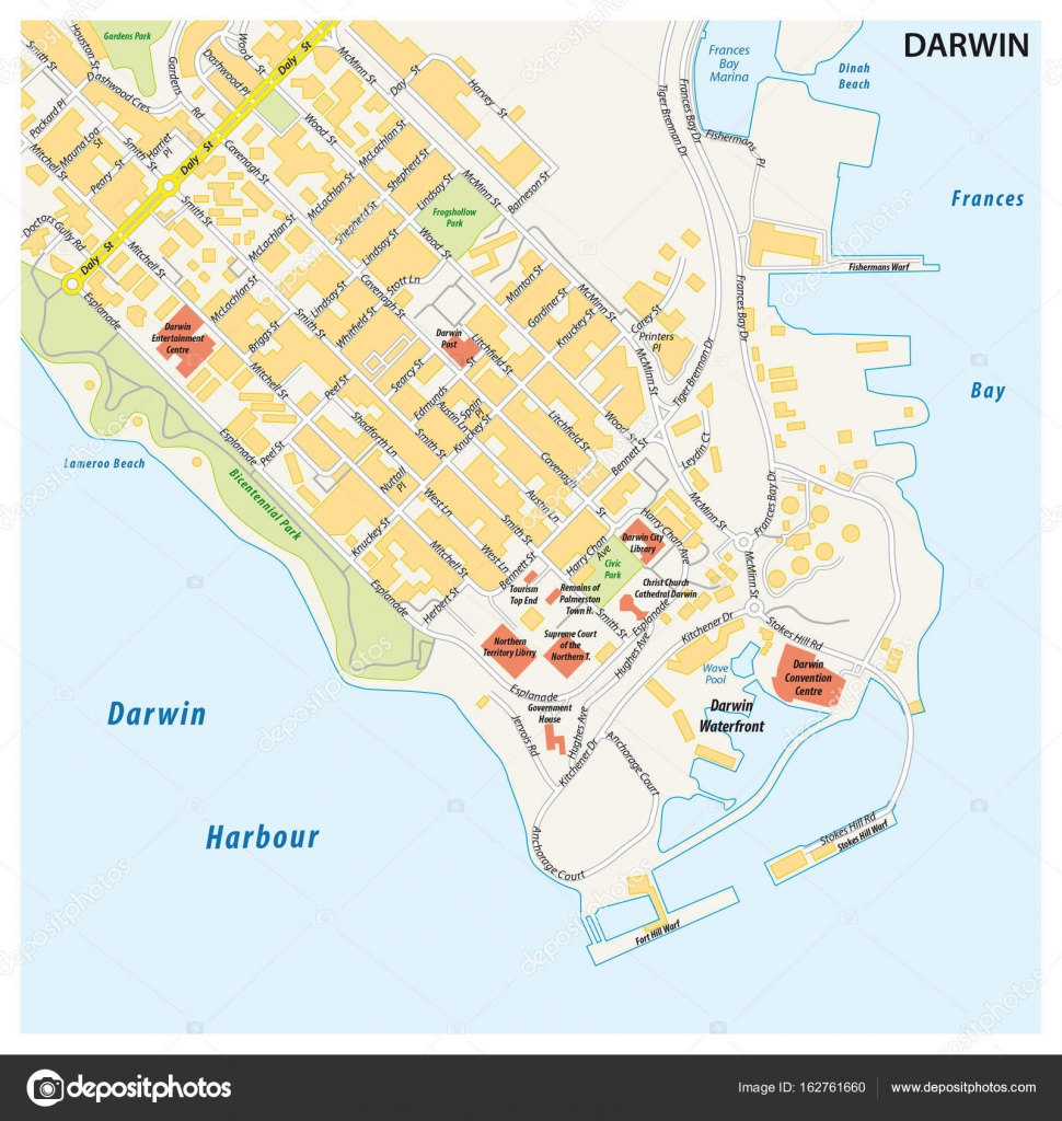 Map Northern Australia.Street Map Of The City Of Darwin Northern Territory Australia